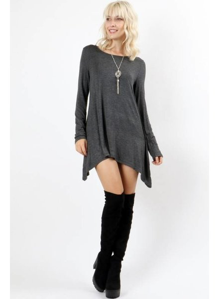 Long Sleeve Basic Top in Charcoal