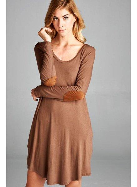 Long Sleeve Swing Dress in Mocha