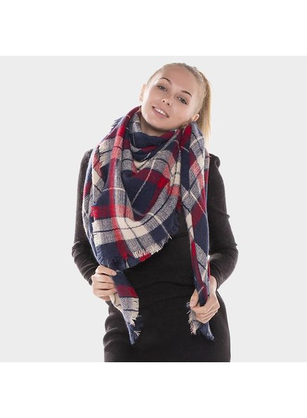 Blanket Scarf in Red/Navy