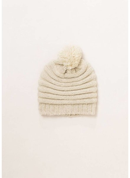 Striped Knit Hat in Ivory