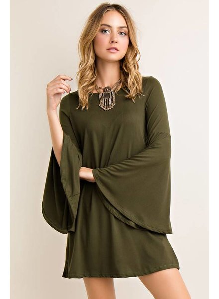 Bell Sleeve Dress in Olive