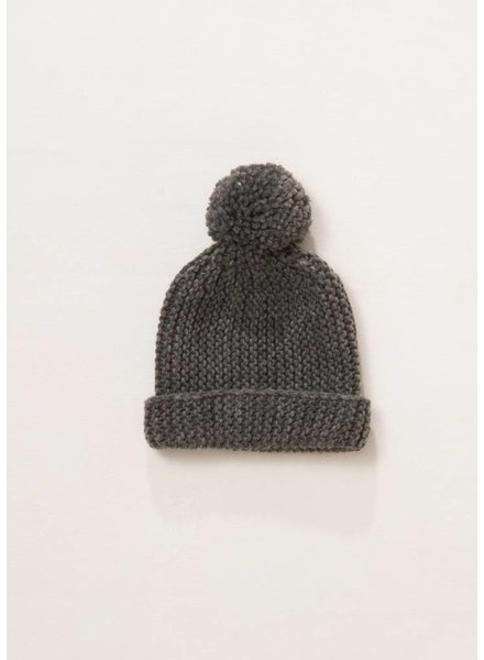 Solid Pompom Hat in Dark Grey