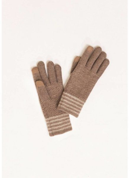 Finger Point Striped Texting Gloves Assorted Colors