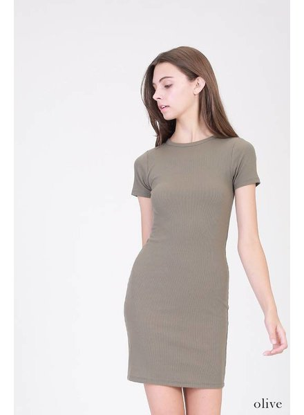 Fitted Basic Dress in Olive