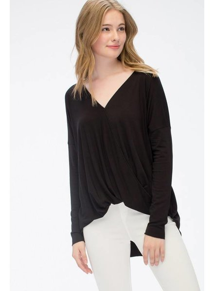 High Low Basic Top in Black