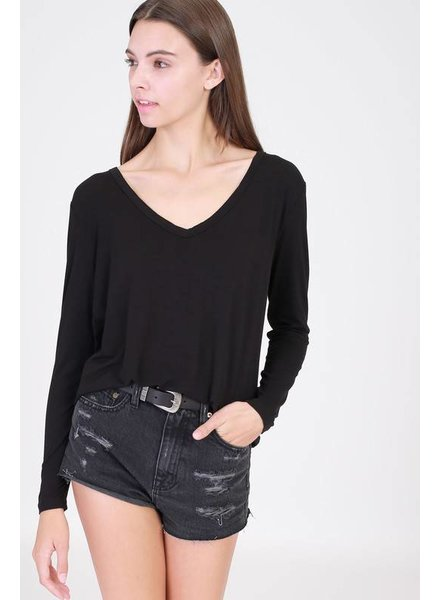 Basic V Neck Top in Black