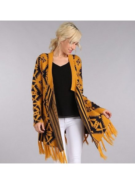 Aztec Pattern Knit Cardigan in Mustard/Navy