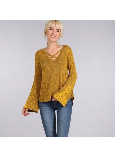 Crochet Criss Cross Top in Mustard