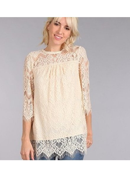Lace Woven Top in Natural