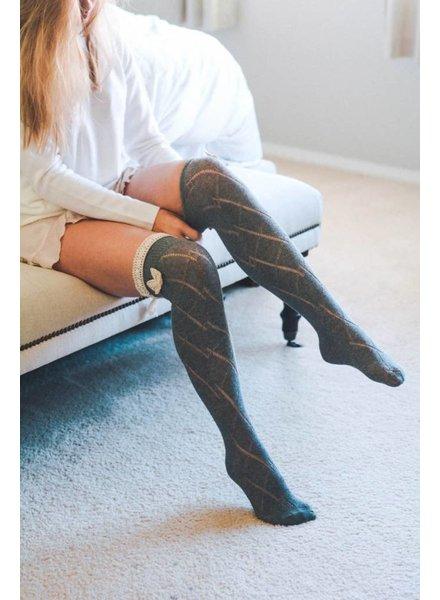 Diamond Thigh High Socks in Various Colors