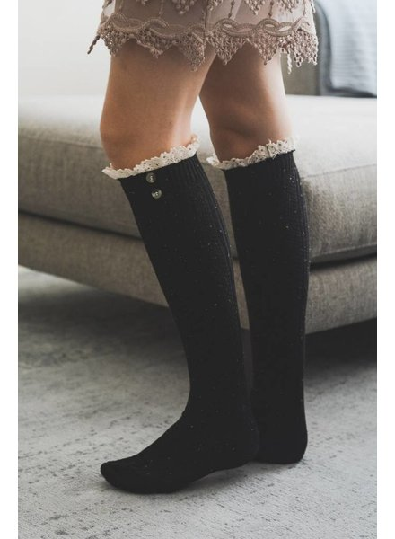 Lace Button Knee High Sock in Black