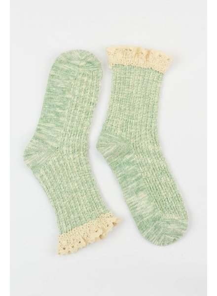 Lace Ruffle Sock in Green