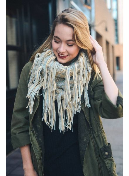 Chunky Knit Tassel Infinity Scarf in Various Colors