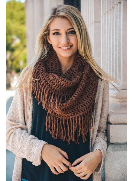 Lattice Tassel Infinity Scarf in Various Colors
