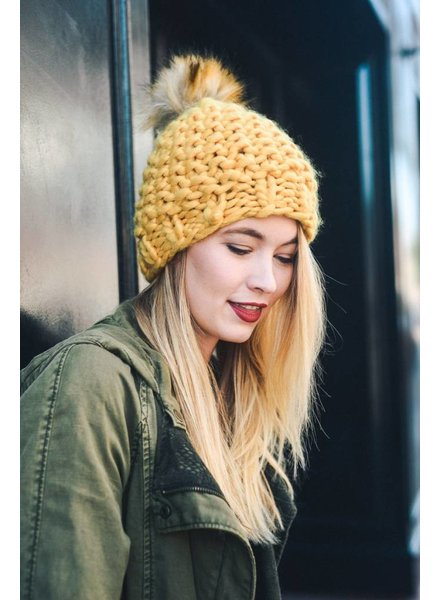 Chunky Knit Pom Beanie in Various Colors