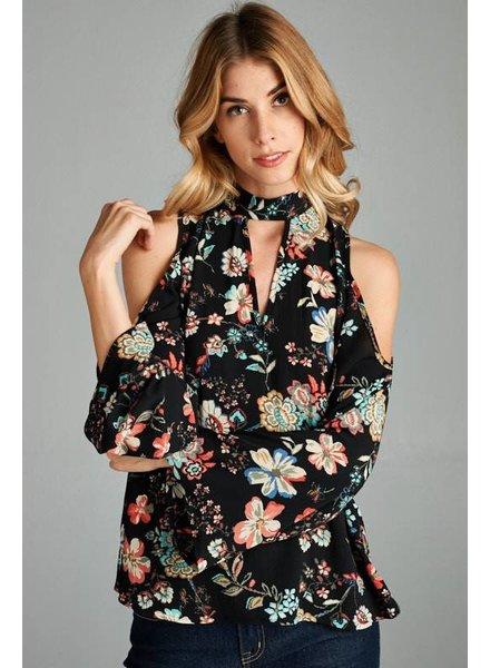 Floral Cold Shoulder Top in Black