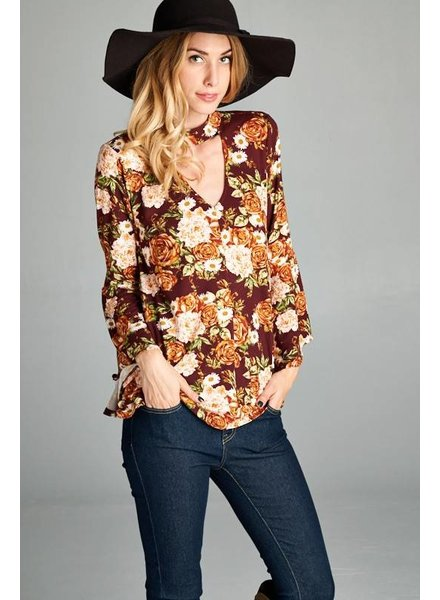 Rose Daisy Floral Choker Blouse in Wine