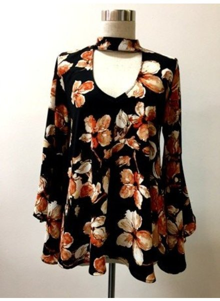 Floral Vneck Choker Blouse in Black
