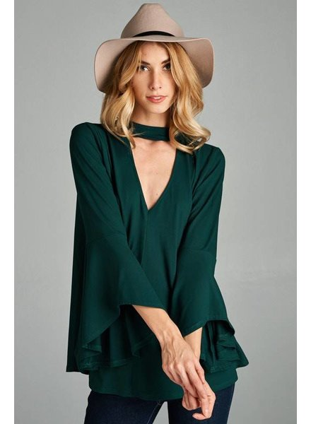 Open Back Choker Top in Hunter Green