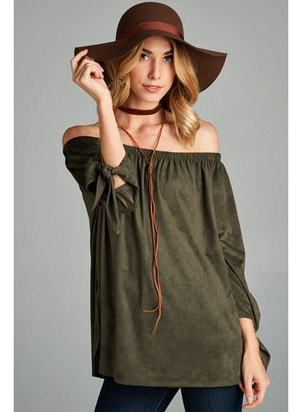 Off The Shoulder Tunic in Olive