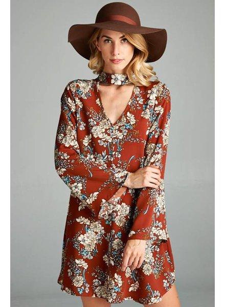 Oriental Floral Choker Dress in Red/Brown