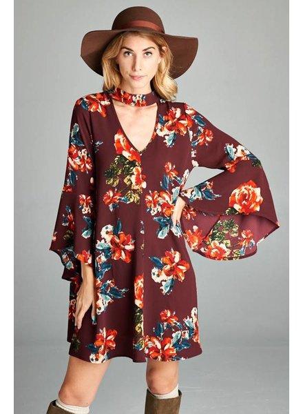 Floral Choker Dress in Burgundy
