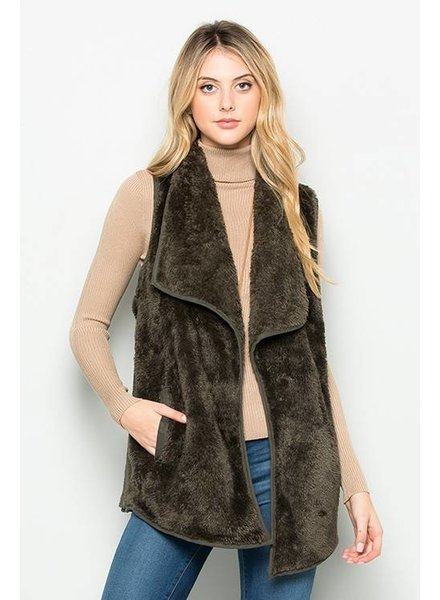 Best Front Fur Vest in Dark Grey/Olive