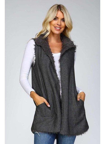 Reversible Faux Fur Vest in Charcoal