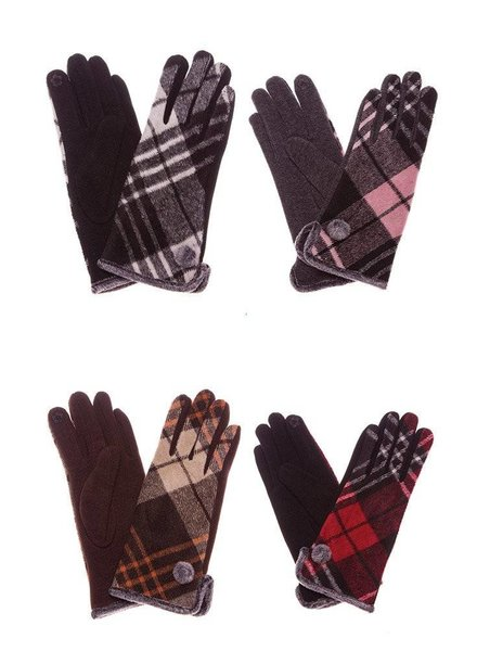 Plaid Smart Touch Gloves in Various Colors