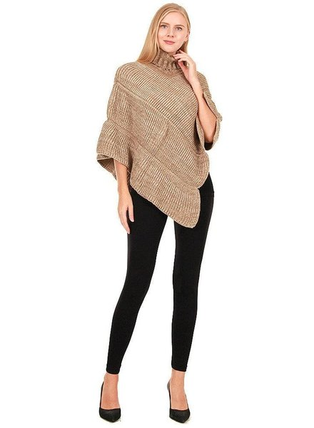 Striped Turtleneck Poncho in Various Colors