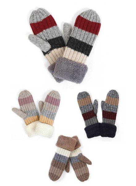 Colorblock Mittens in Various Colors