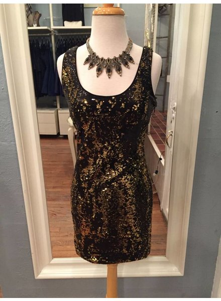 Sequin Mini Dress in Gold
