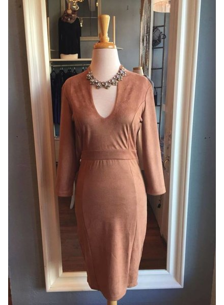Suede Plunge Dress in Camel