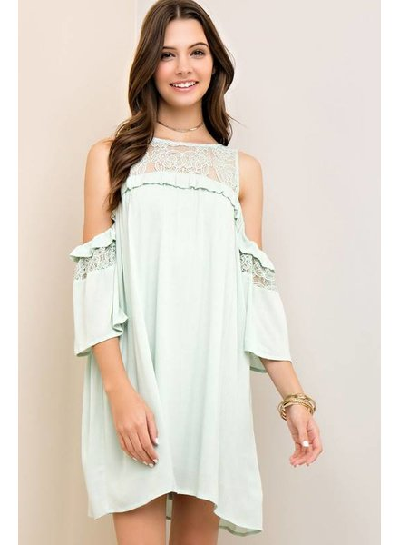 Solid Ruffle Cold Shoulder Dress