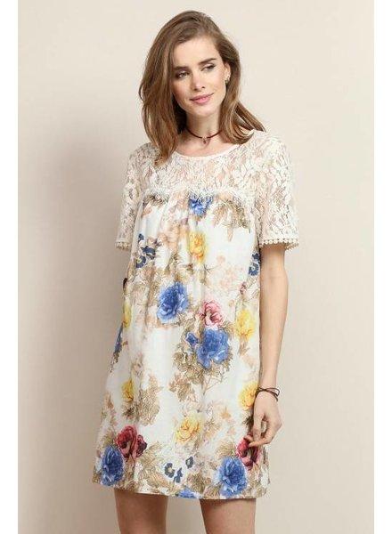 Lace Floral Shift Dress