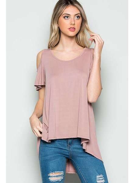 High Low Cold Shoulder Top
