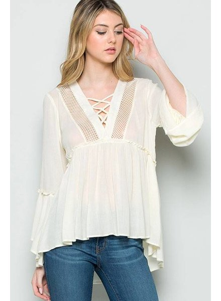Detailed Ruffle Bell Sleeve Top