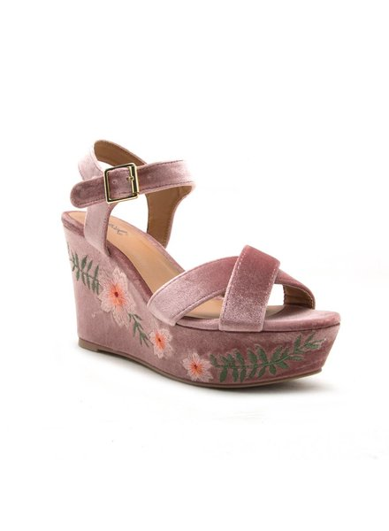 Embroidered Velvet Wedge
