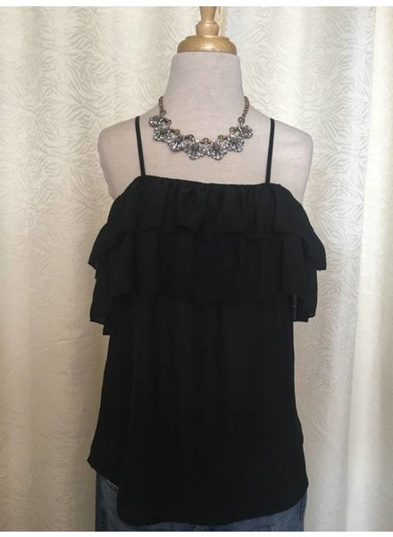 DL NY Inc Black Ruffle Top