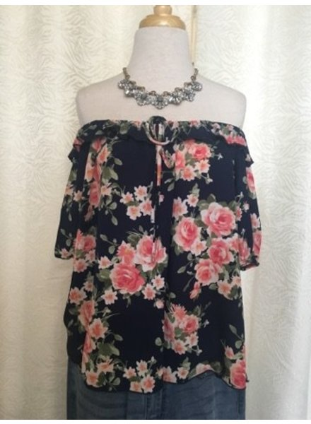 B&H Navy Floral Top