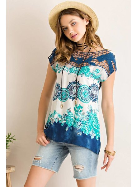 Entro Printed Lace Top