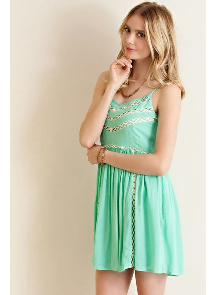 Entro Solid Lace Baby Doll Dress