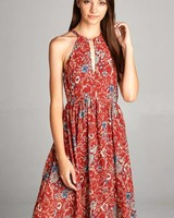 Aakaa Printed High Neck Maxi