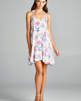Aakaa Floral Print Mini Dress