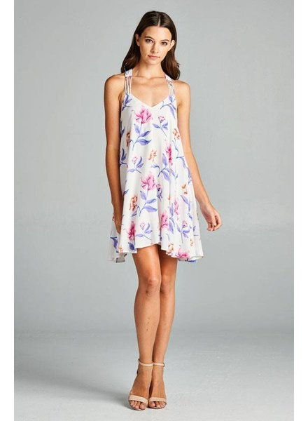 Aakaa Floral Print Mini Dress