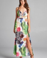 Aakaa Rose Print Maxi Dress