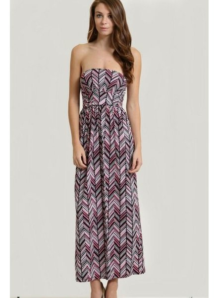 1 Funky Printed Strapless Maxi