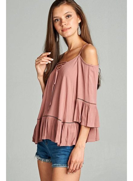 Active Basic Ruffle Cold Shoulder Top