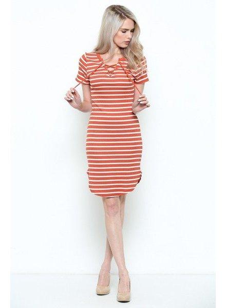 Heart & Hips Fitted Tie Stripe Dress