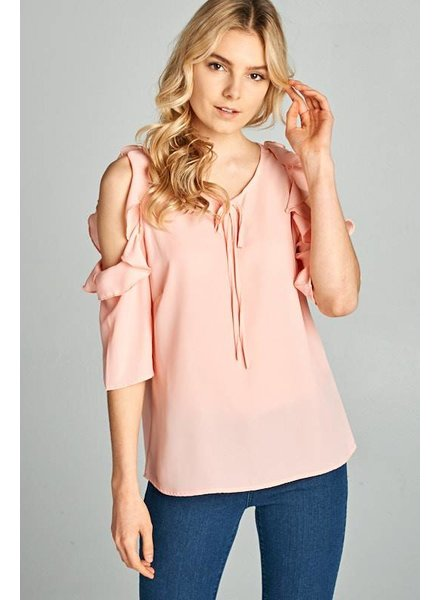 Route 3 Fashion Cold Shoulder Ruffle Top